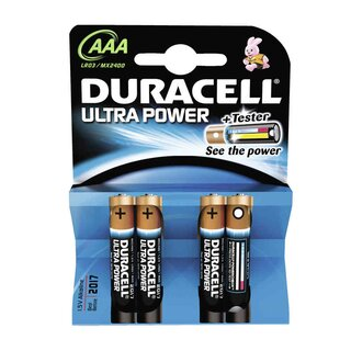 Duracell Ultra Power-AAA (MN2400/LR03) 4er Blister mit Powercheck